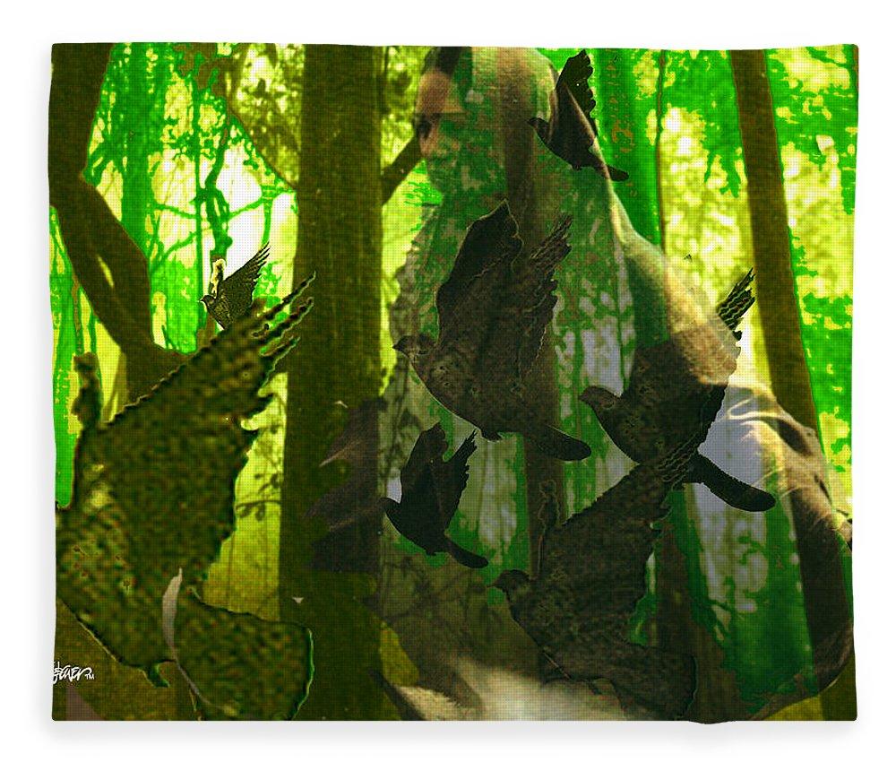Birdwoman Fleece Blanket featuring the digital art The Birdwoman by Seth Weaver