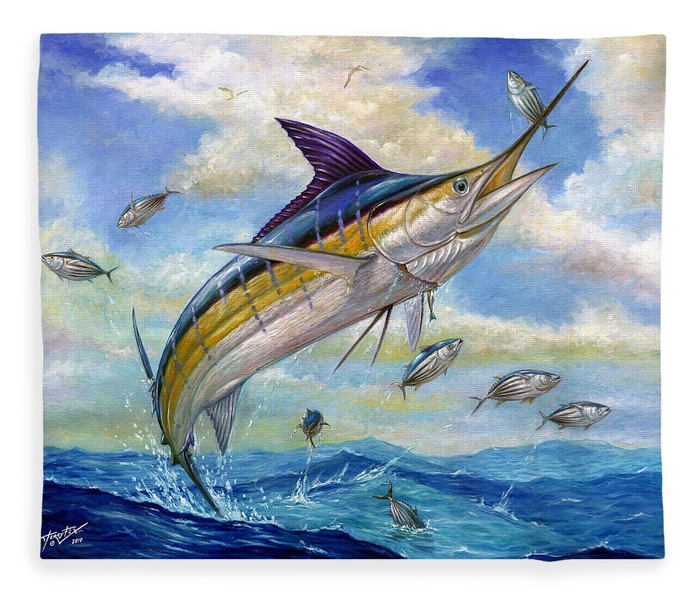Blue Marlin Fleece Blanket featuring the painting The Blue Marlin Leaping To Eat by Terry Fox