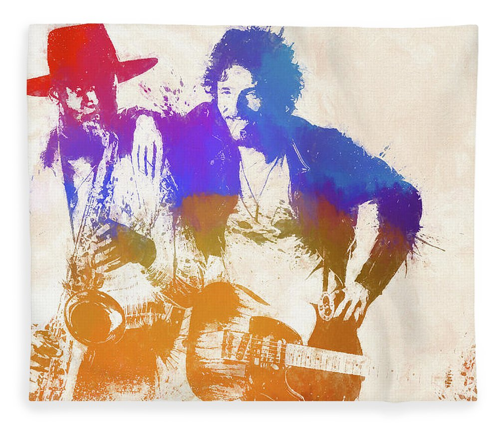 Bruce And The Big Man Fleece Blanket featuring the painting The Boss And The Big Man by Dan Sproul