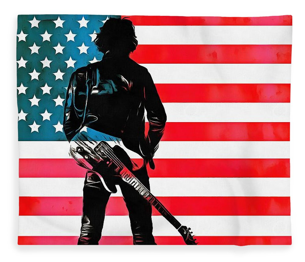 Springsteen American Icon Fleece Blanket featuring the digital art The Boss by Dan Sproul