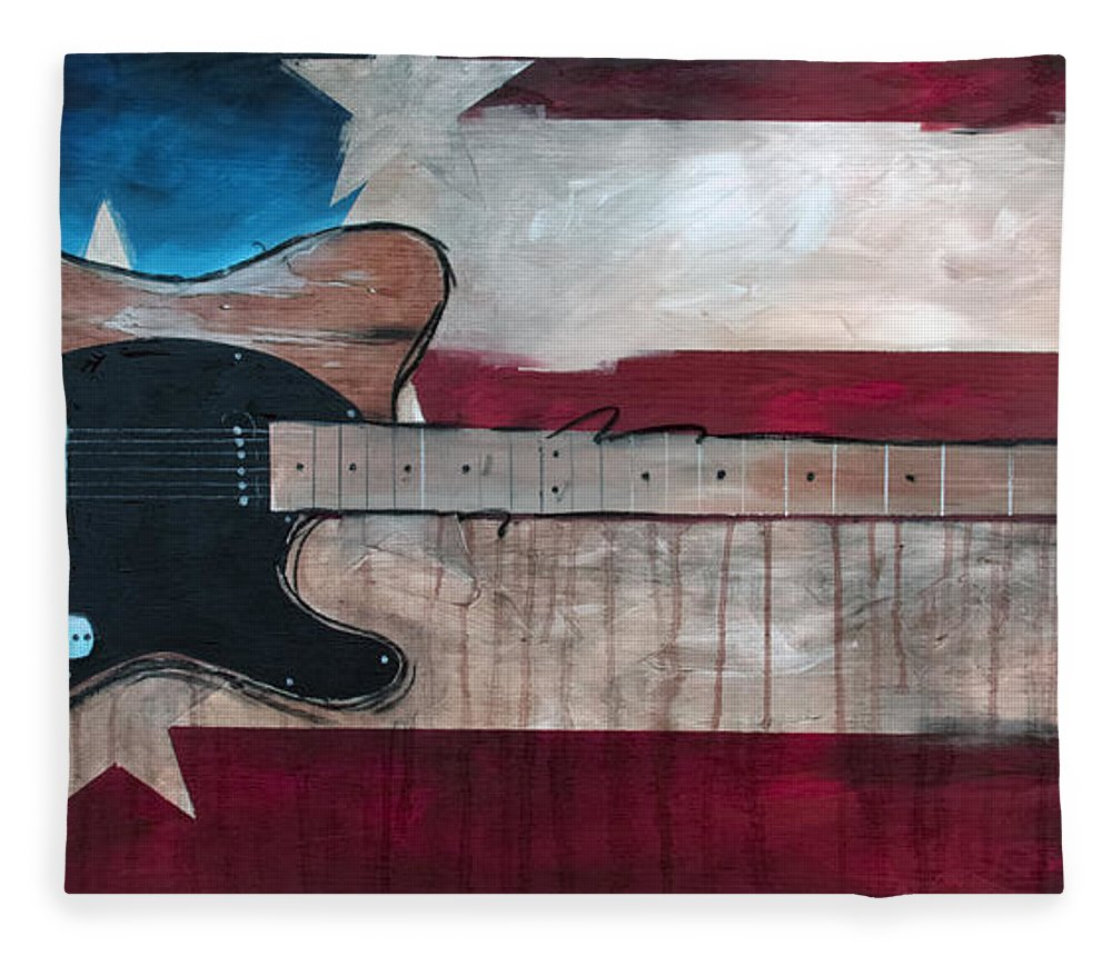Bruce Springsteen Fleece Blanket featuring the painting The Boss by Sean Parnell