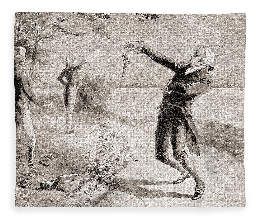 Aaron Burr Fleece Blanket featuring the drawing The Burr Hamilton Duel by Henry Alexander Ogden