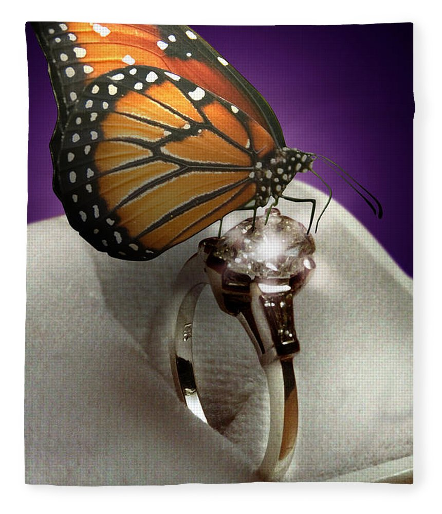 Fantasy Fleece Blanket featuring the mixed media The Butterfly and the Engagement Ring by Yuri Lev