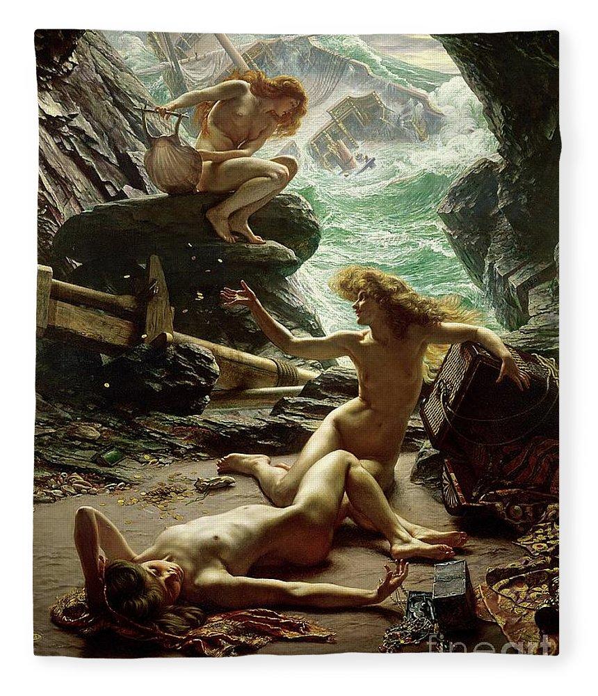 The Cave Of The Storm Nymphs Fleece Blanket featuring the painting The Cave of the Storm Nymphs by Sir Edward John Poynter