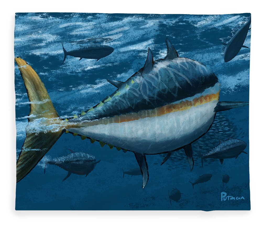 Tuna Fleece Blanket featuring the digital art The Chase by Kevin Putman