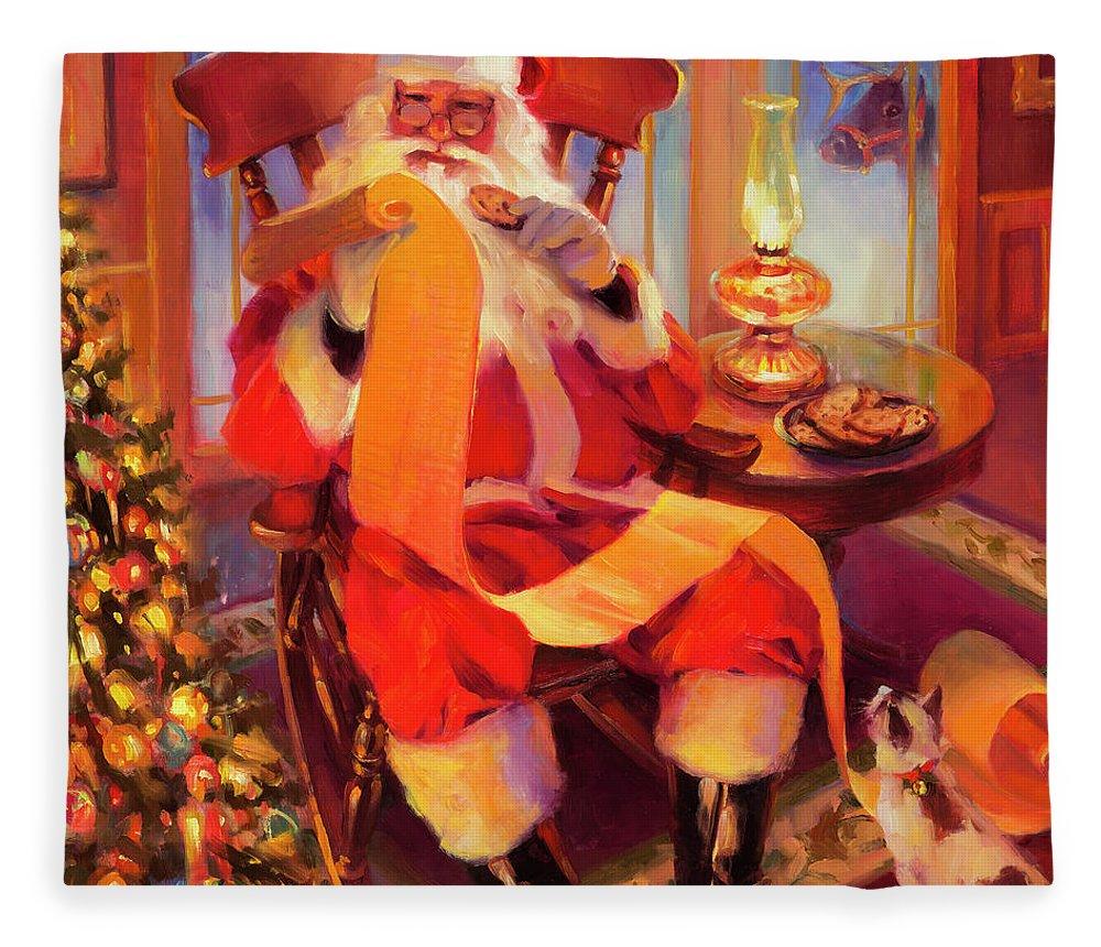 Santa Fleece Blanket featuring the painting The Christmas List by Steve Henderson