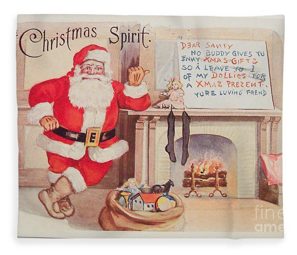 The Christmas Spirit Vintage Card Santa Next To Fireplace Fleece ...