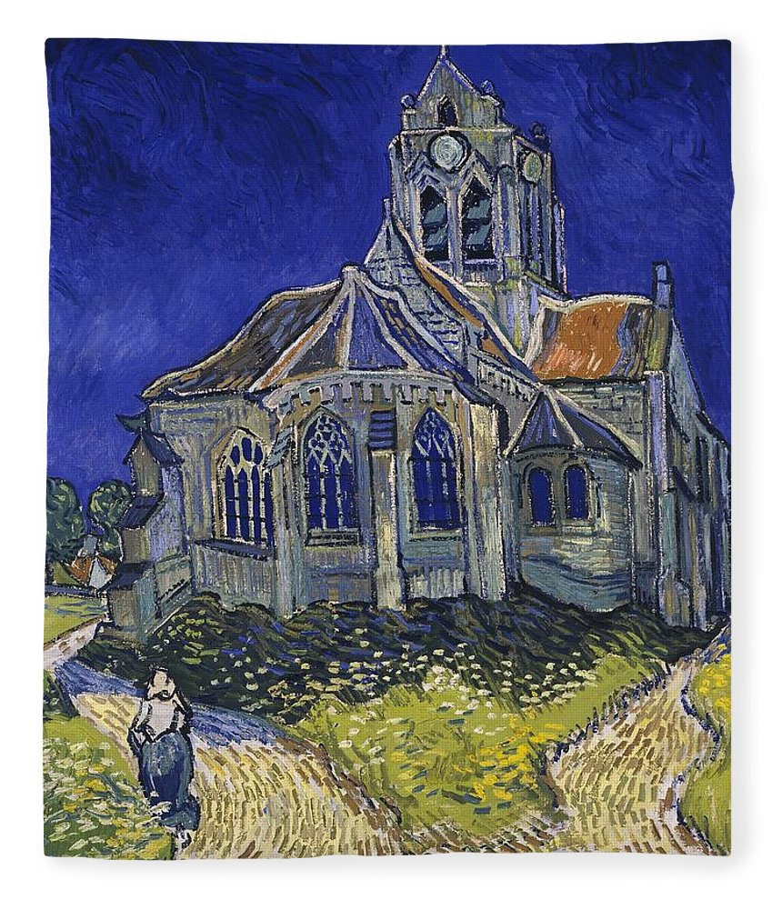 Vincent Van Gogh Fleece Blanket featuring the painting The Church At Auvers by Van Gogh