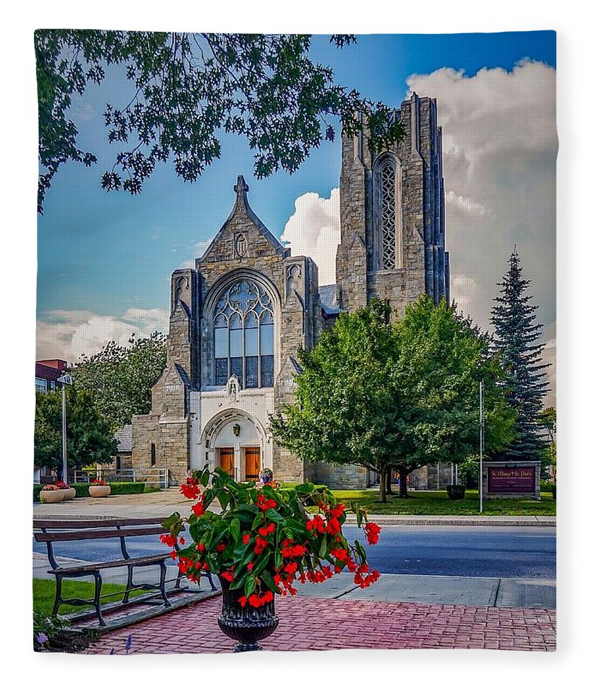 Fleece Blanket featuring the photograph The church in summer by Kendall McKernon