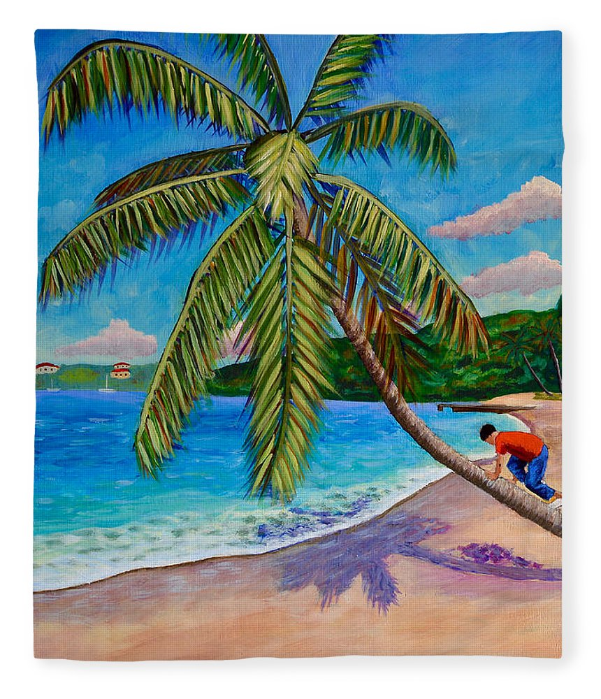 Coconut Tree Fleece Blanket featuring the painting The Climb by Laura Forde