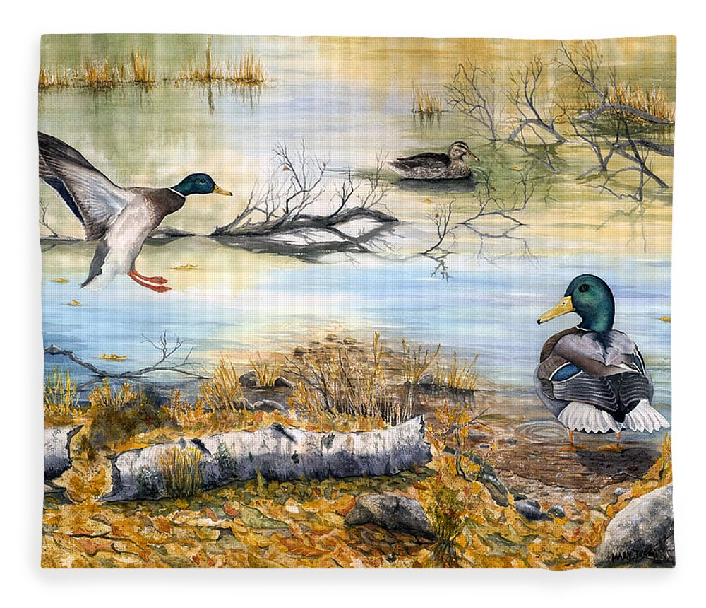 Mallerds Fleece Blanket featuring the painting The Competition by Mary Tuomi