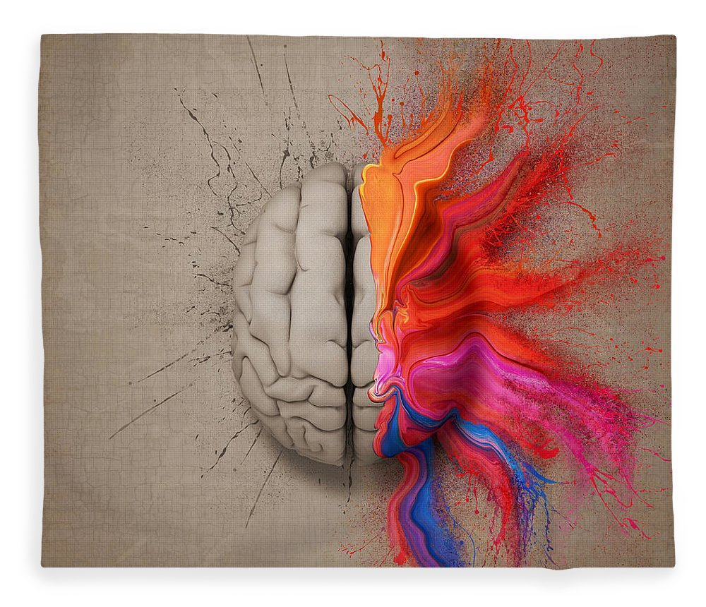 Brain Fleece Blanket featuring the digital art The Creative Brain by Johan Swanepoel