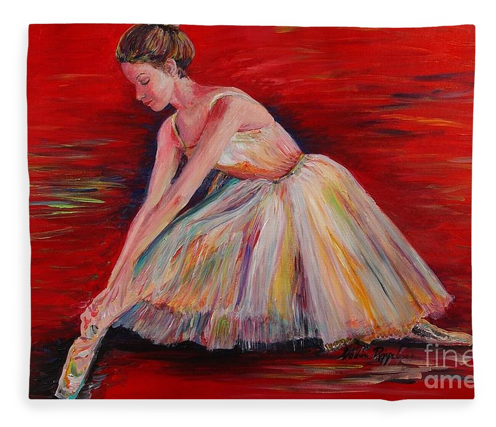 Dancer Fleece Blanket featuring the painting The Dancer by Nadine Rippelmeyer