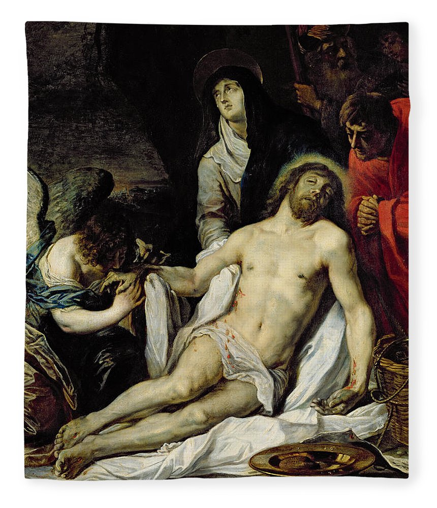 The The Deposition (oil On Canvas) By Pieter Van Mol (1599-1650) Fleece Blanket featuring the painting The Deposition by Pieter van Mol
