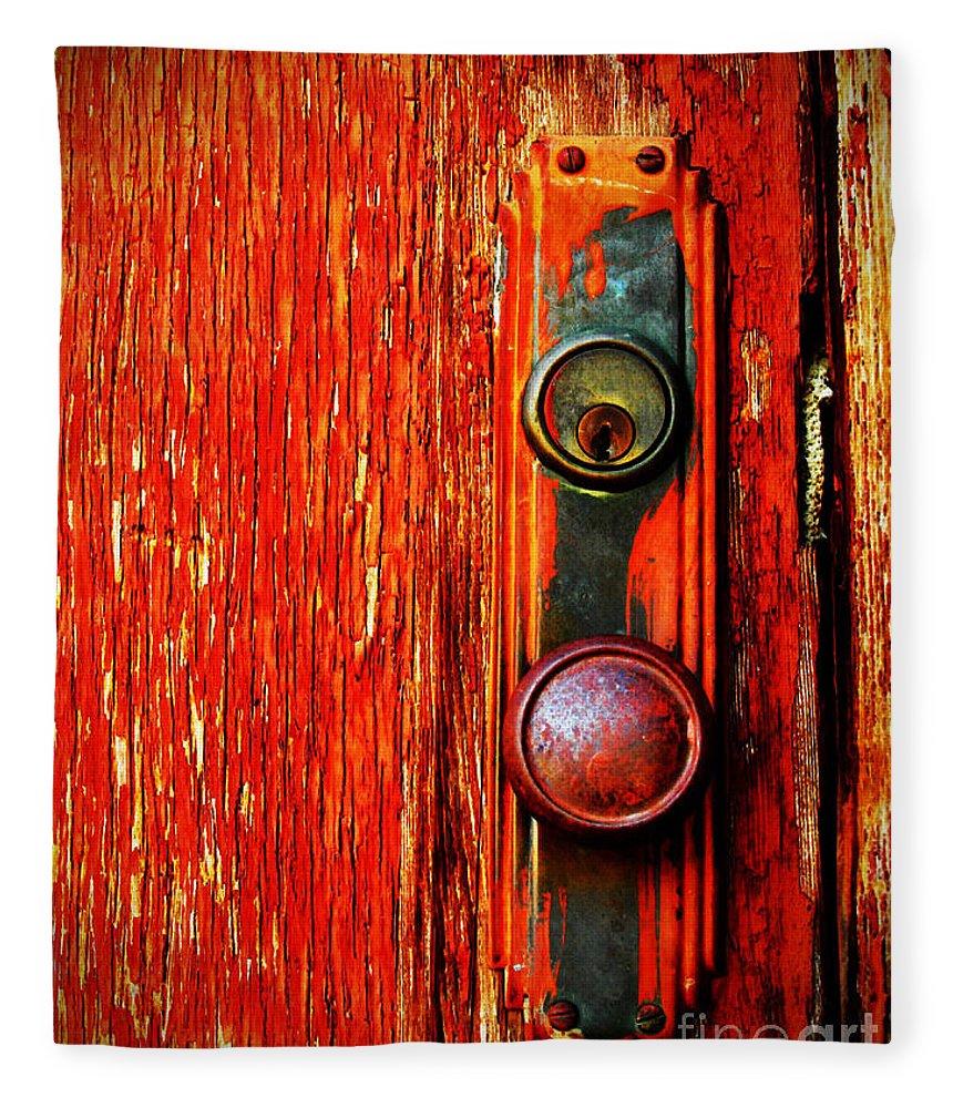 Door Fleece Blanket featuring the photograph The Door Handle by Tara Turner