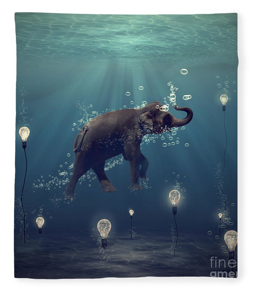 Elephant Fleece Blanket featuring the photograph The Dreamer by Martine Roch