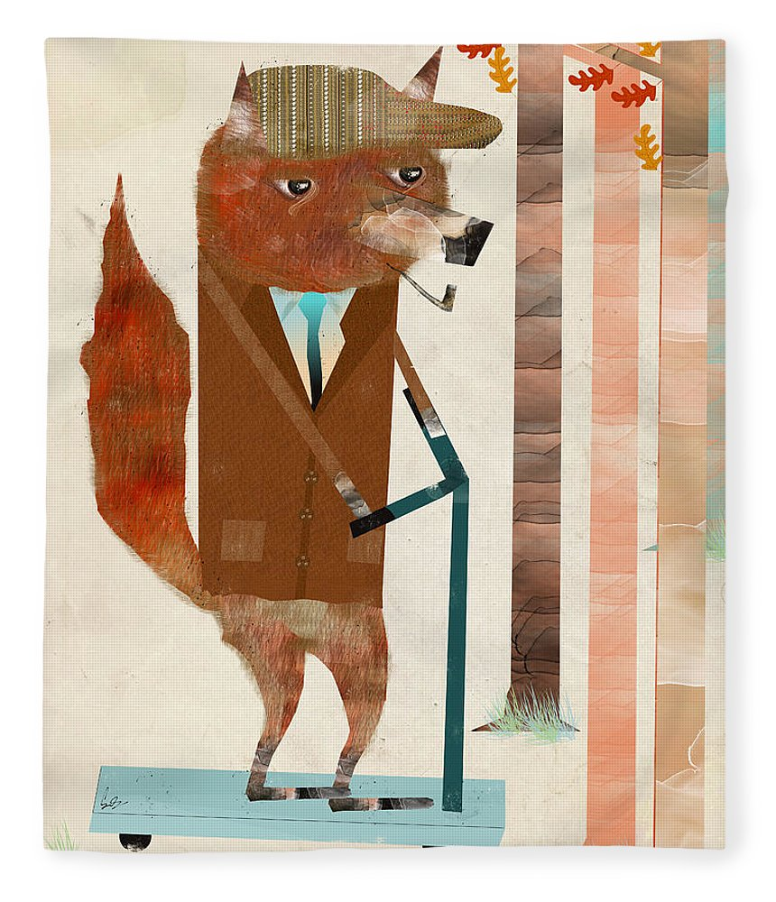 Mr Fox Fleece Blanket featuring the painting The Eccentric Mr Fox by Bri Buckley