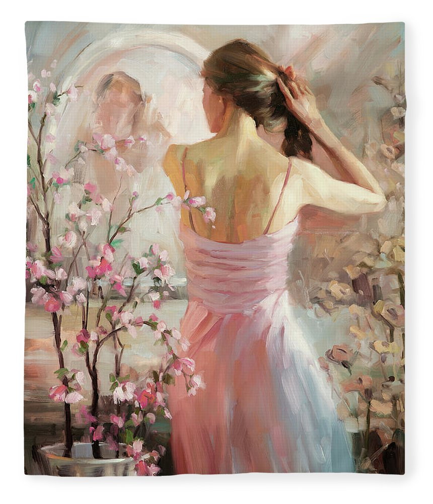 Woman Fleece Blanket featuring the painting The Evening Ahead by Steve Henderson