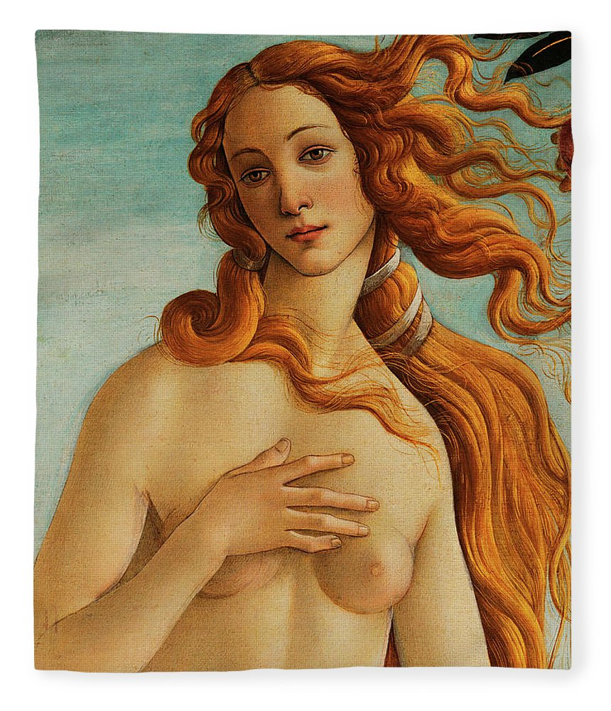 Face Of Venus Fleece Blanket featuring the painting The Face Of Venus by Sandro Botticelli