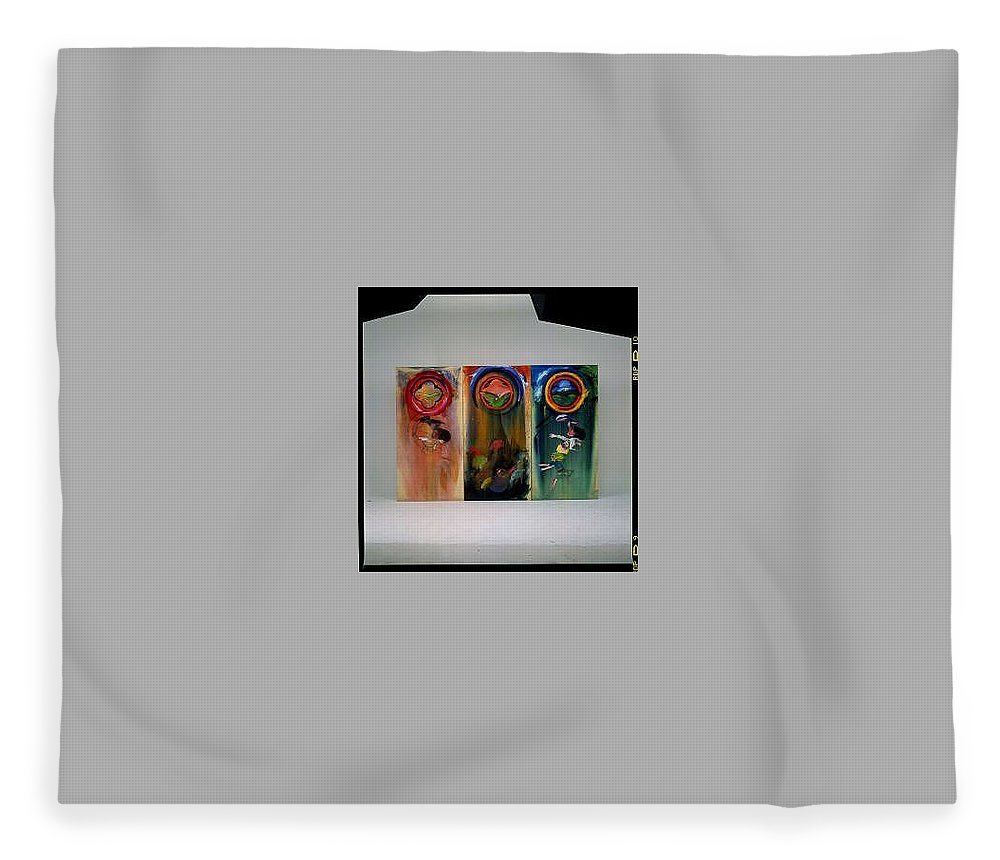 Fall From Grace Fleece Blanket featuring the painting The Fruit Machine Stops by Charles Stuart