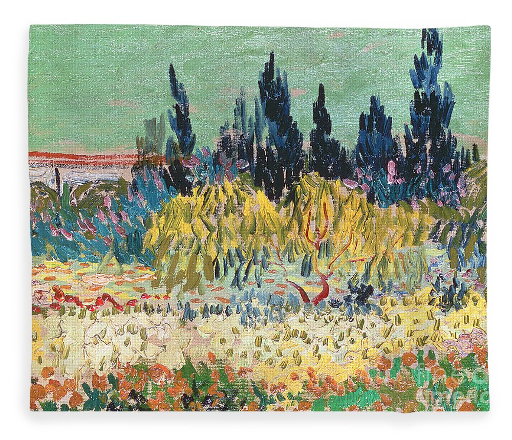 Garden In Bloom Fleece Blanket featuring the painting The Garden at Arles by Vincent Van Gogh