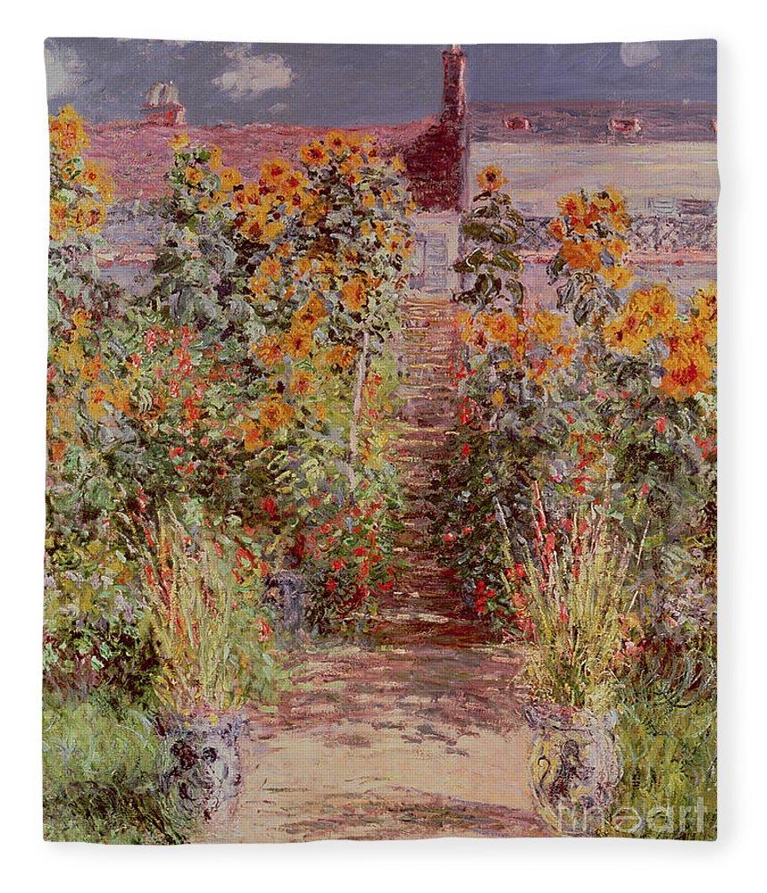 Ordinaire The Garden At Vetheuil Fleece Blanket Featuring The Painting The Garden At  Vetheuil By Claude Monet