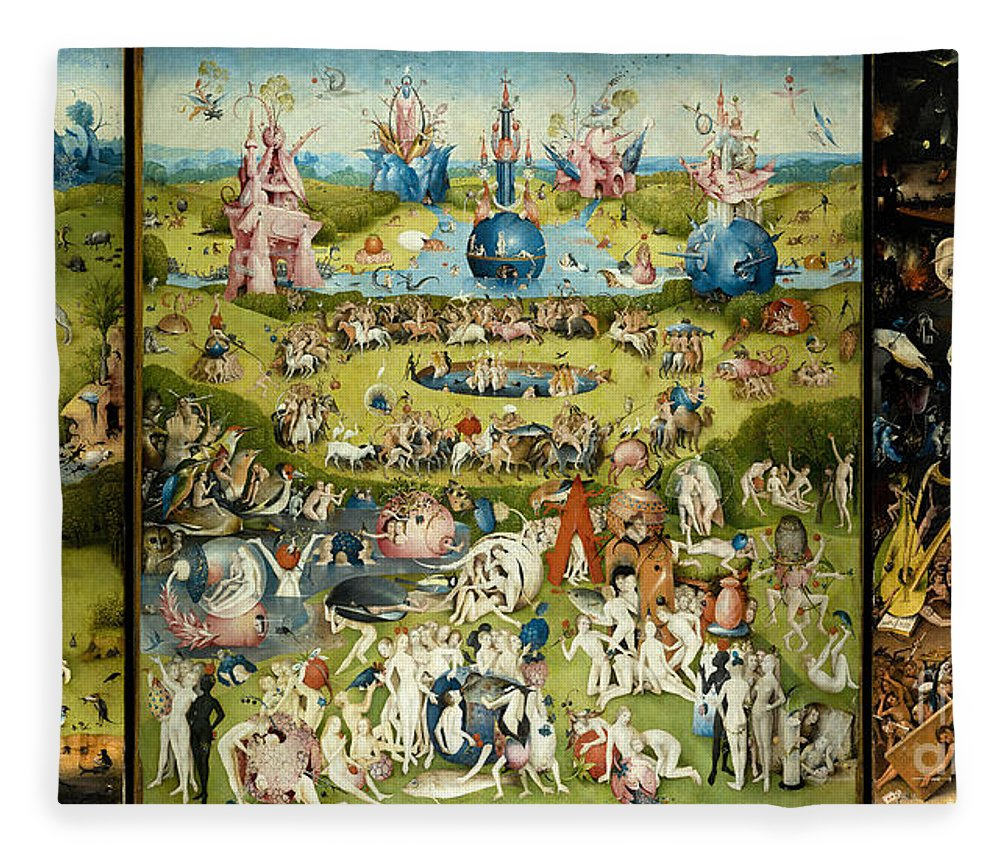 Hieronymous Bosch Fleece Blanket featuring the painting The Garden Of Earthly Delights 1490-1510 By Hieronymus Bosch by ArtAnthology
