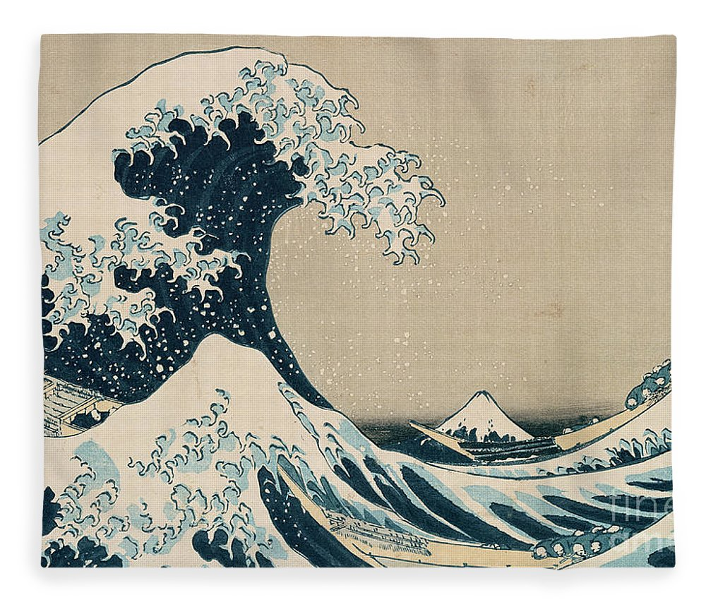 Wave Fleece Blanket featuring the painting The Great Wave of Kanagawa by Hokusai