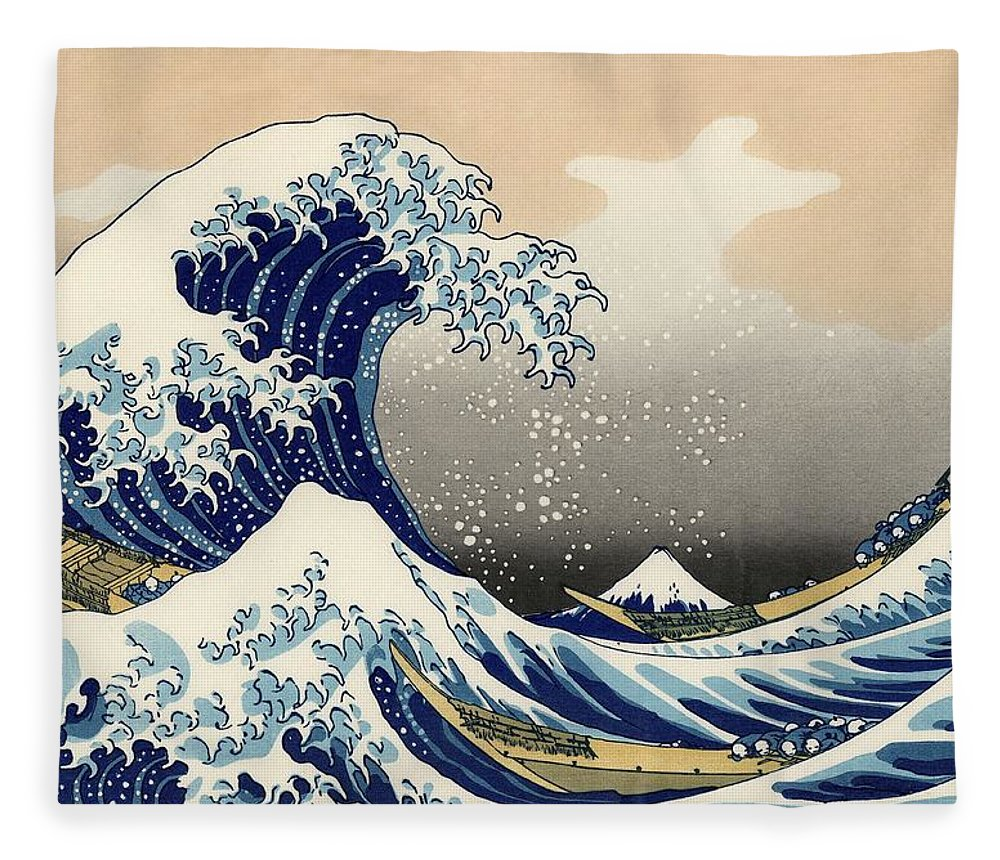 Wave Fleece Blanket featuring the photograph The Great Wave Off Kanagawa by Katsushika Hokusai