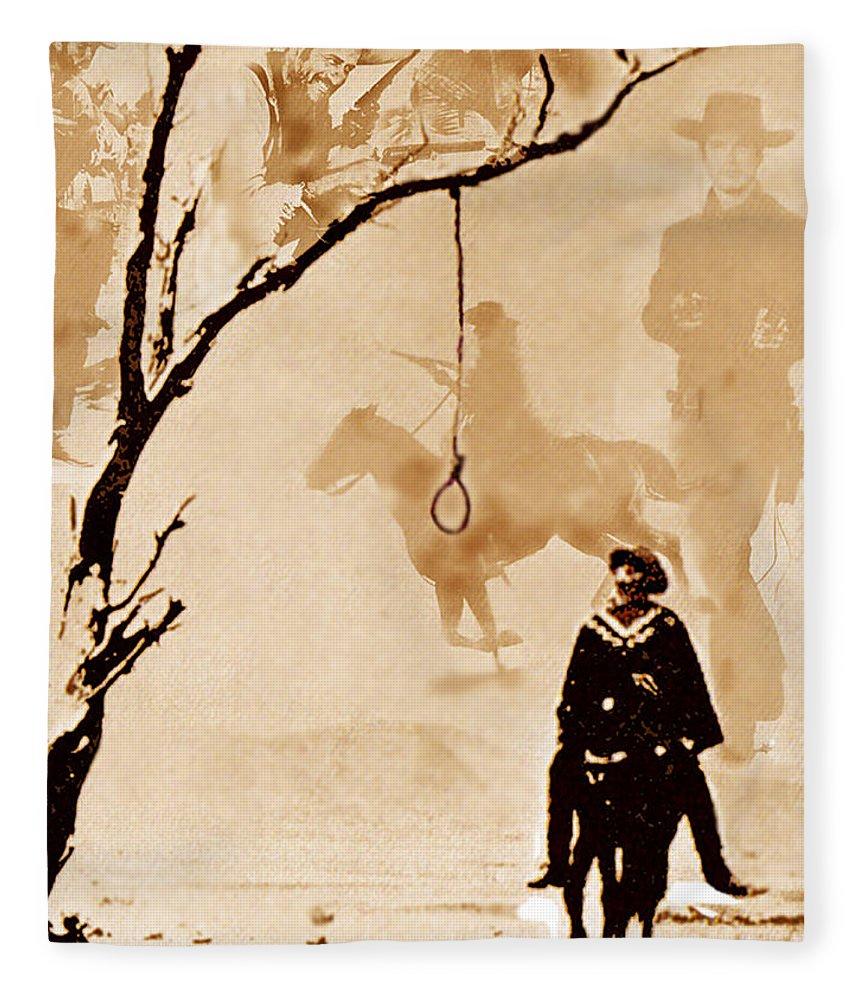 Clint Eastwood Fleece Blanket featuring the digital art The Hangman's Tree by Seth Weaver