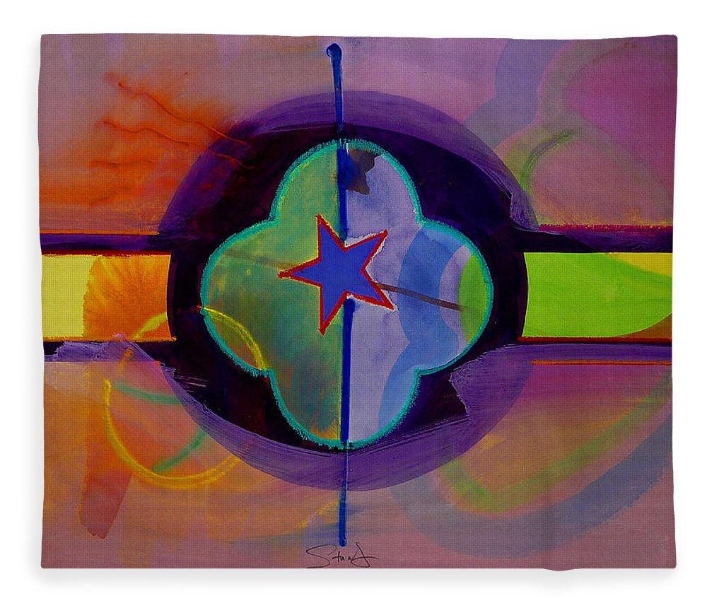 Star Fleece Blanket featuring the painting The Happy American by Charles Stuart