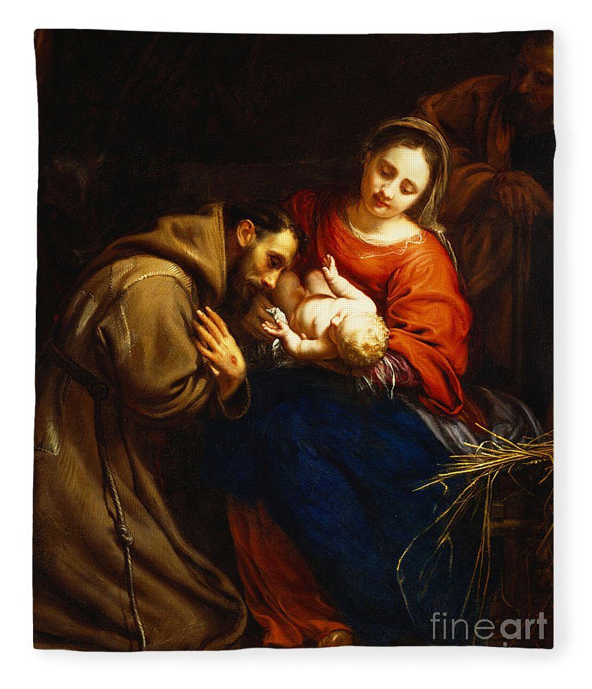 Holy Fleece Blanket featuring the painting The Holy Family With Saint Francis by Jacob van Oost