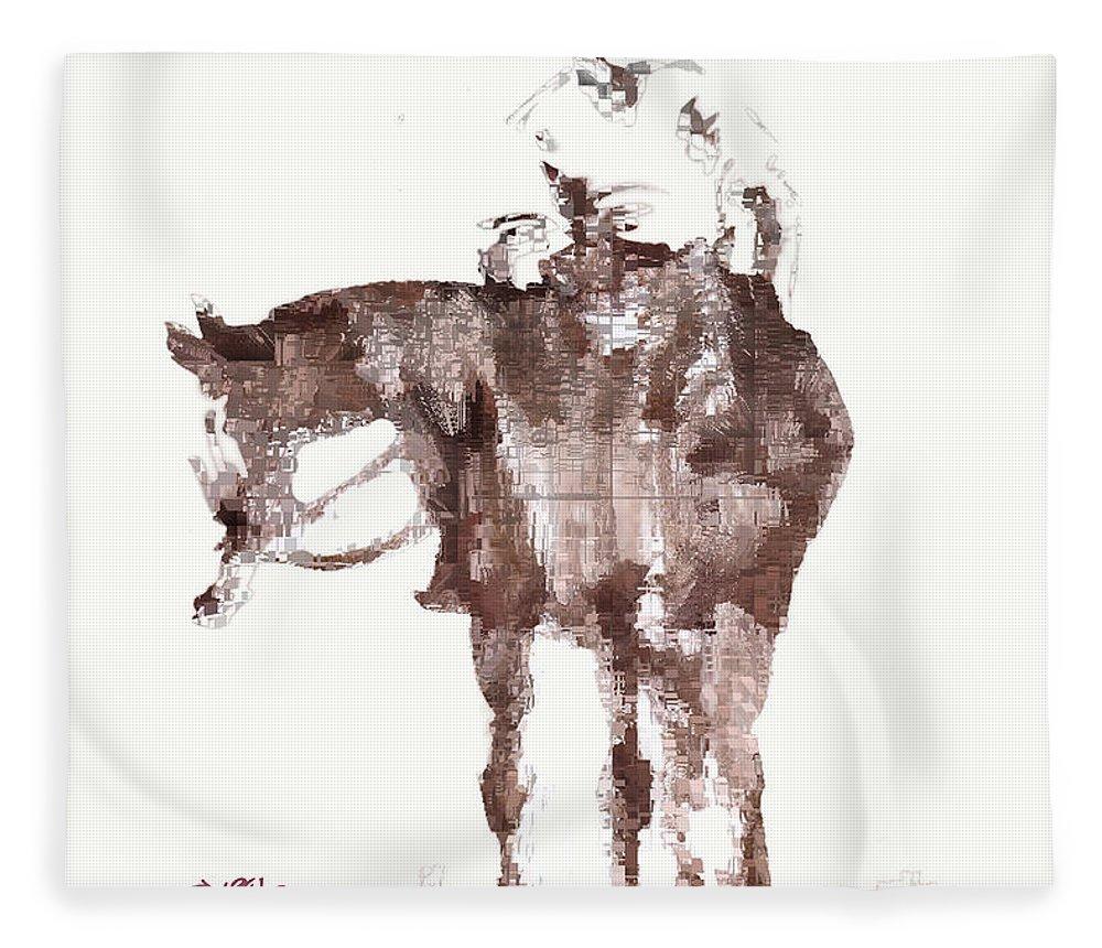 Horseman Fleece Blanket featuring the digital art The Horseman by Seth Weaver