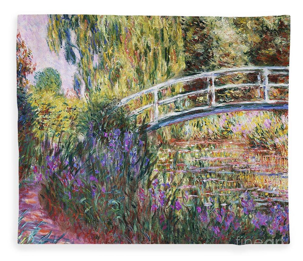 The Japanese Bridge Fleece Blanket featuring the painting The Japanese Bridge by Claude Monet