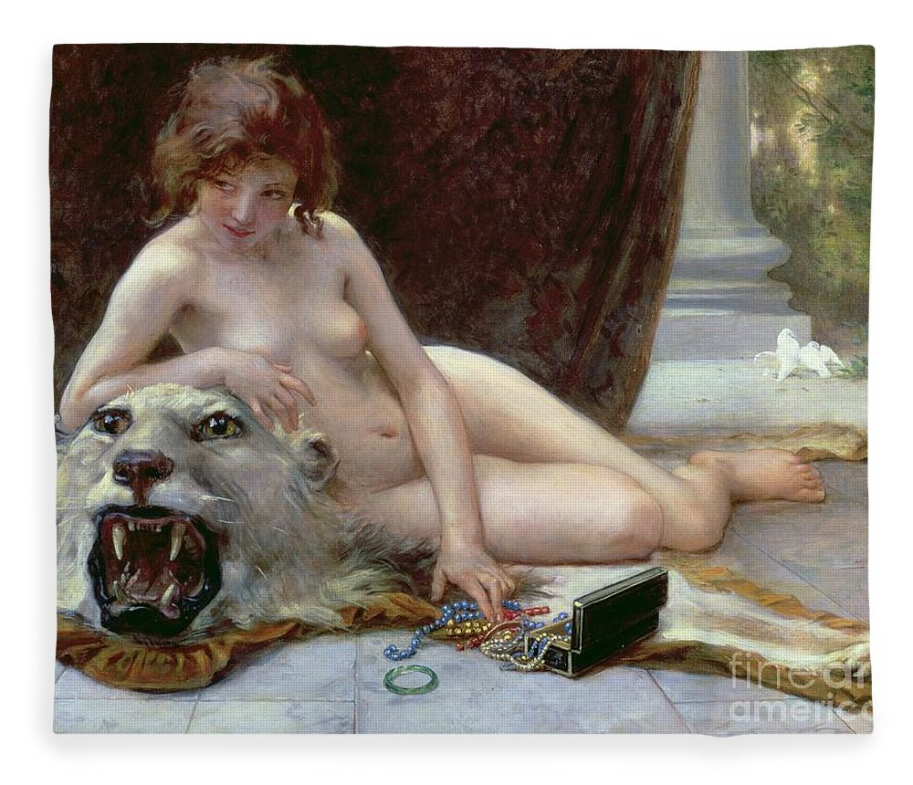 Nude Fleece Blanket featuring the painting The Jewel Case by Guillaume Seignac