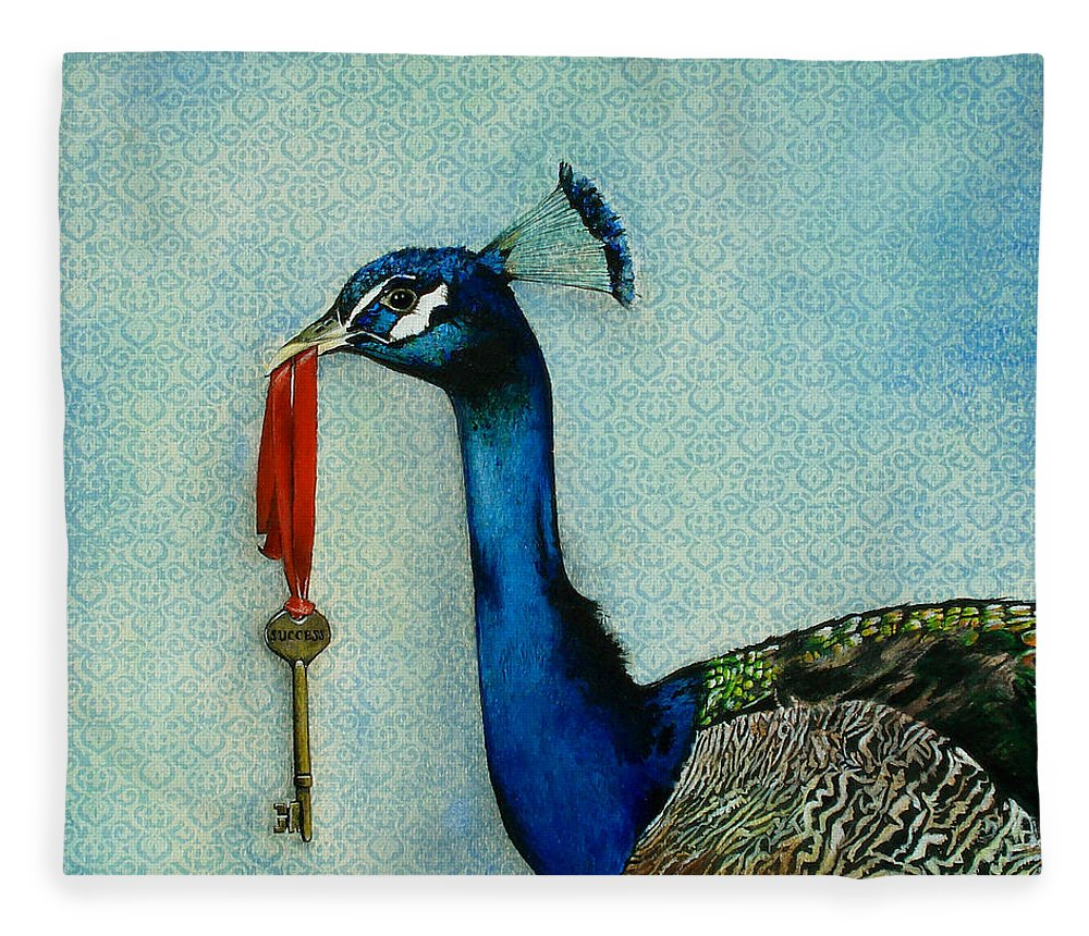 The Key To Success Fleece Blanket featuring the painting The Key To Success by Carrie Jackson