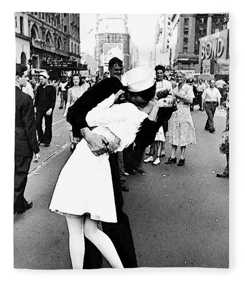 the kiss v j day times square fleece blanket for sale by thomas pollart