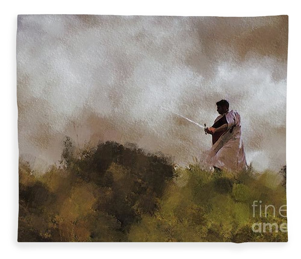 Knight Fleece Blanket featuring the painting The Knight Of Christ by Esoterica Art Agency