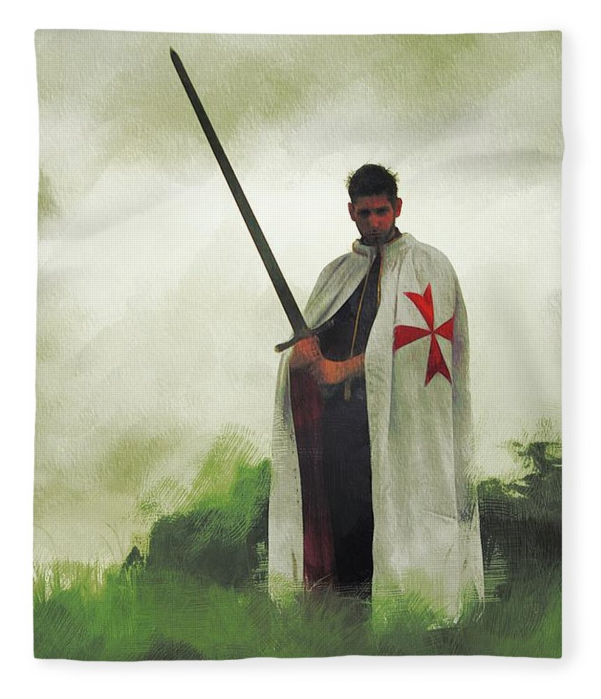 Knight Fleece Blanket featuring the painting The Knight Templar by Esoterica Art Agency