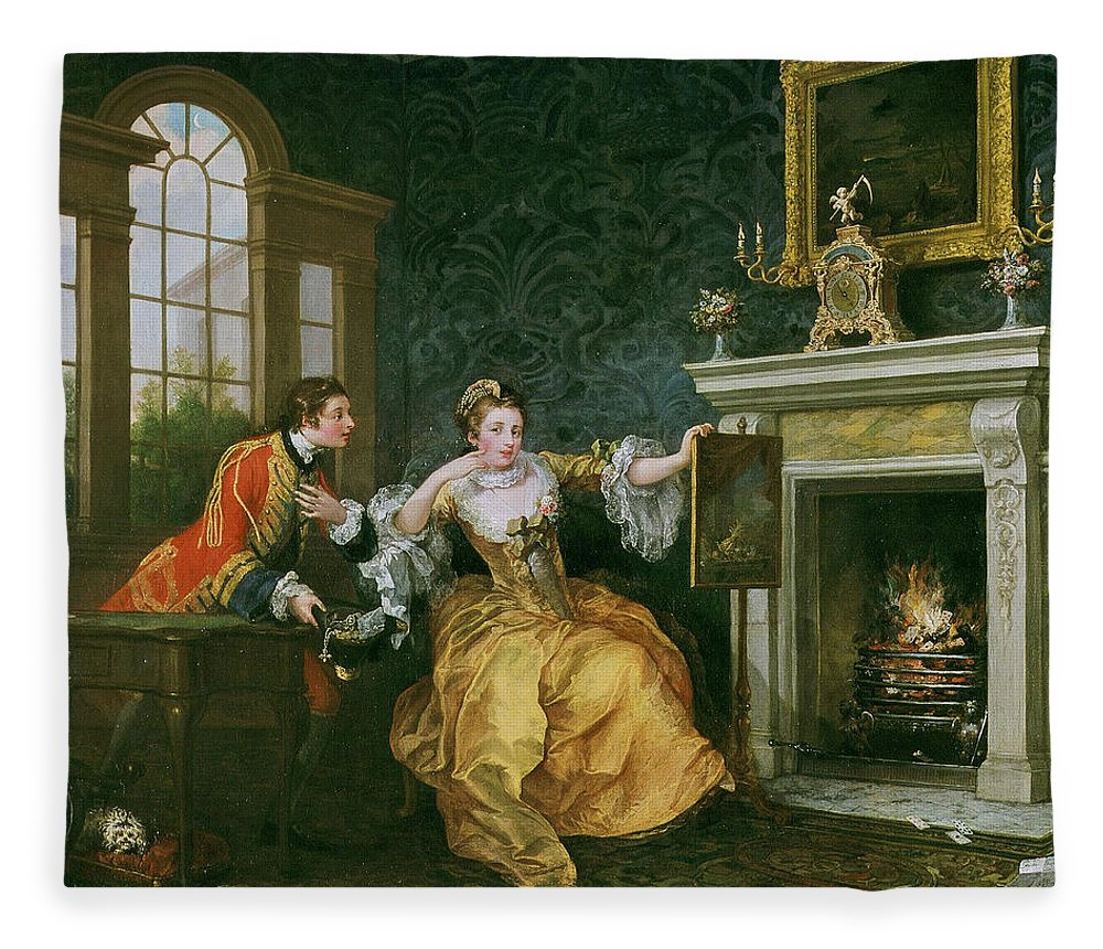 William Hogarth Fleece Blanket featuring the painting The Lady's Last Stake by William Hogarth