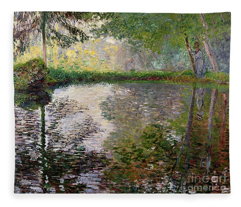 The Lake At Montgeron By Claude Monet (1840-1926) Fleece Blanket featuring the painting The Lake at Montgeron by Claude Monet
