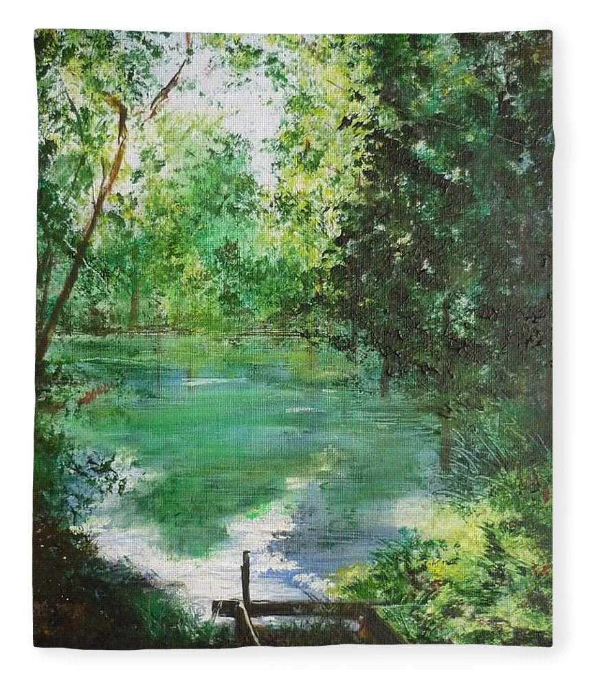 Lake Fleece Blanket featuring the painting The Lake At Stansted Unfinished by Lizzy Forrester