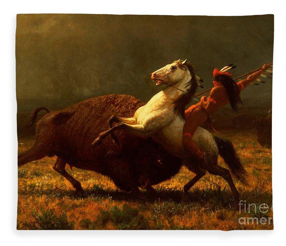 Albert Bierstadt Fleece Blanket featuring the painting The Last of the Buffalo by Albert Bierstadt