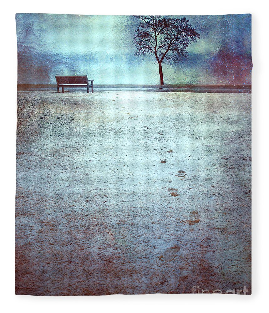 Bench Fleece Blanket featuring the photograph The Last Snowfall by Tara Turner