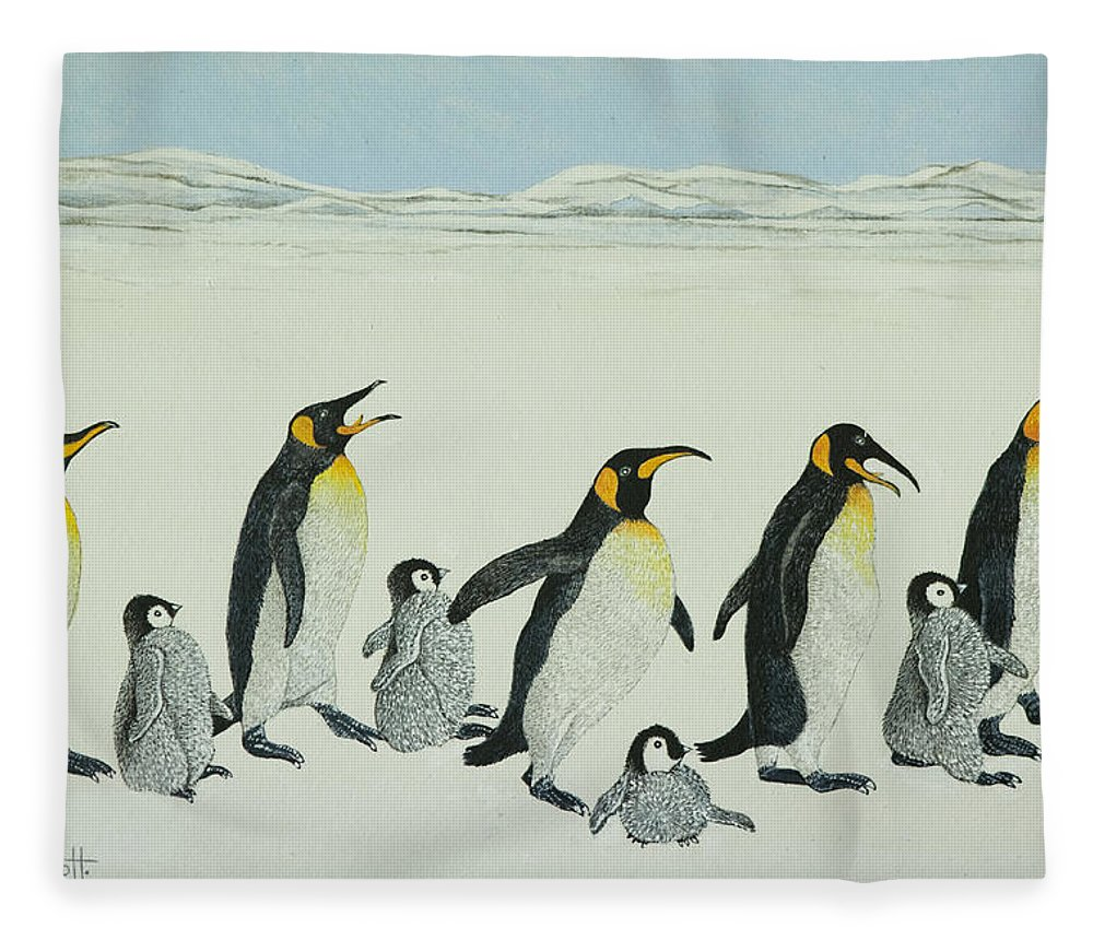 Penguin Fleece Blanket featuring the painting The Learning Curve by Pat Scott