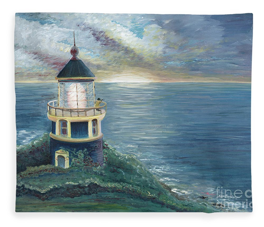 Lighthouse Fleece Blanket featuring the painting The Lighthouse by Nadine Rippelmeyer