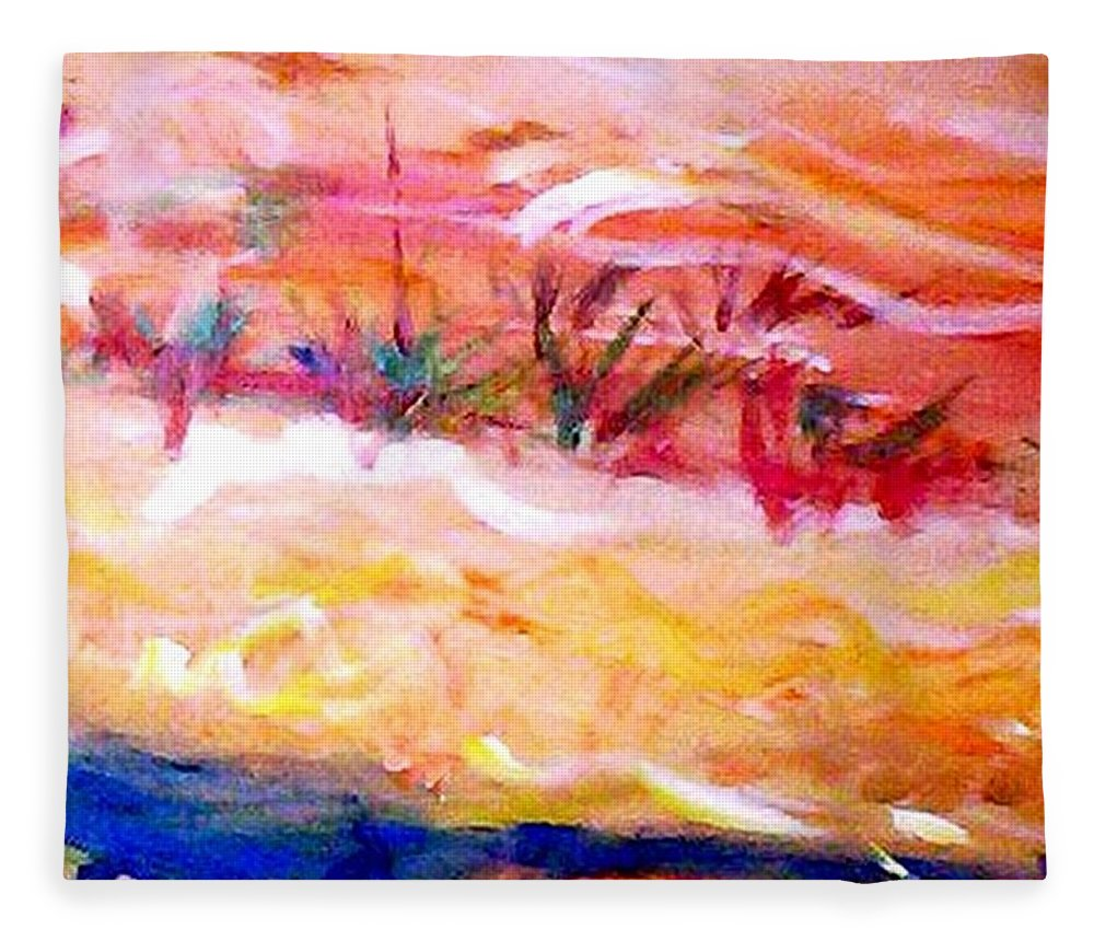 Dune Fleece Blanket featuring the painting The Living Dunes by Winsome Gunning