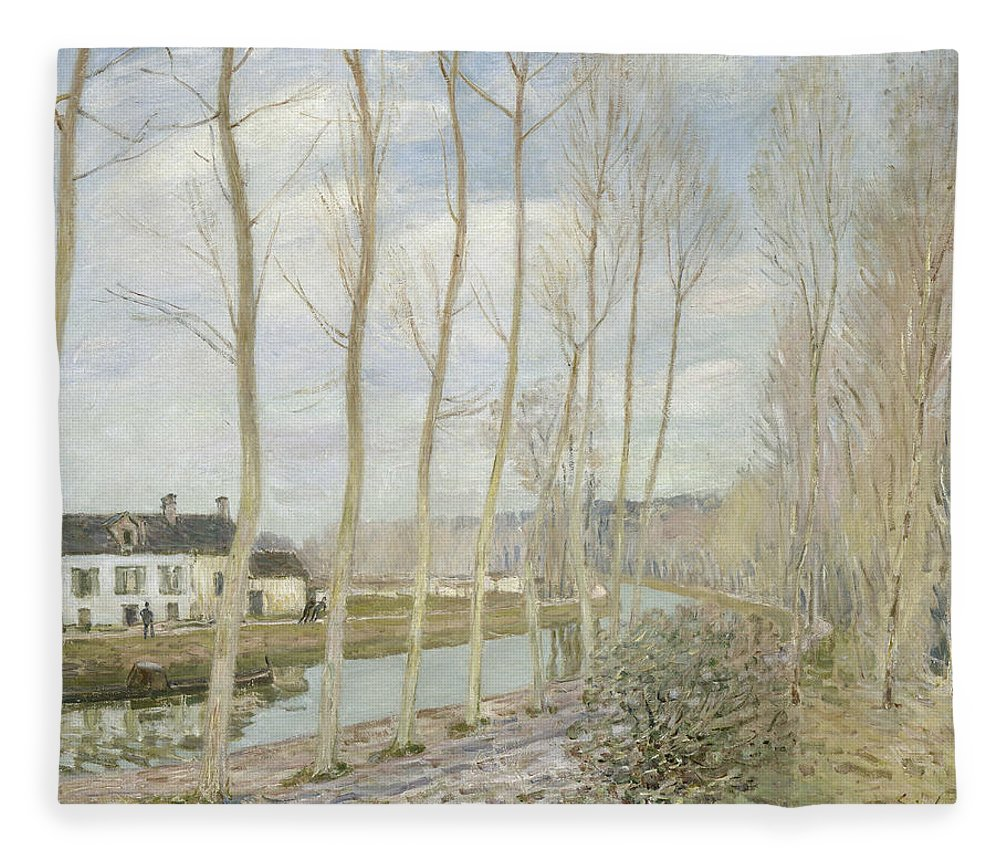 Alfred Sisley Fleece Blanket featuring the painting The Loing's Canal by Alfred Sisley