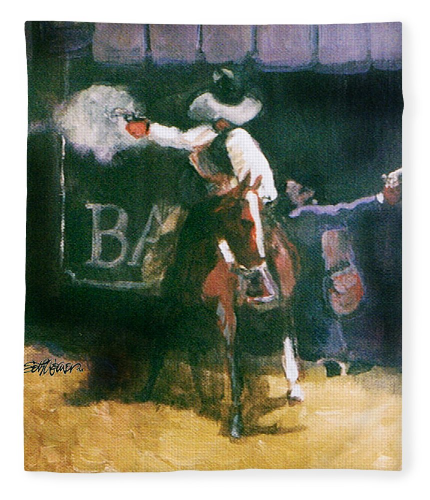 Cowboys Fleece Blanket featuring the painting The Lord Helps Them...A Study by Seth Weaver