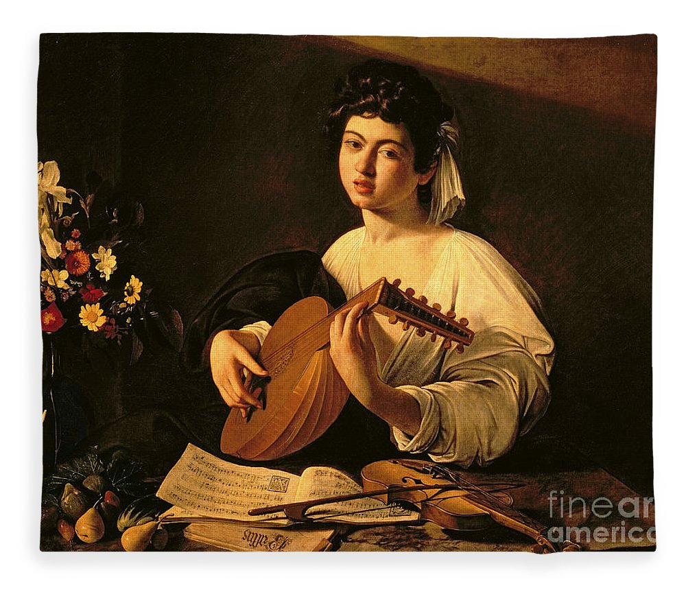 The Lute Player Fleece Blanket featuring the painting The Lute Player by Michelangelo Merisi da Caravaggio